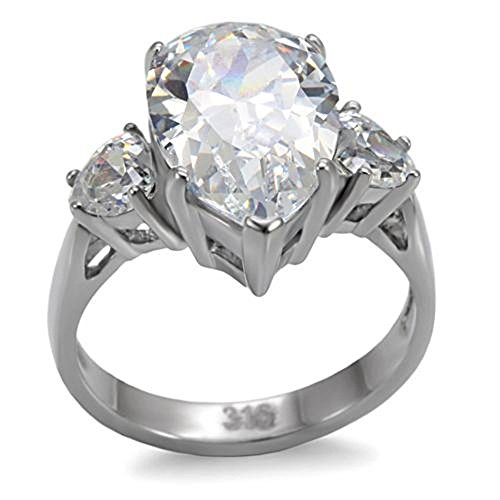 Stainless Steel Large Teardrop Cubic Zirconia Solitaire With Accents Engagement Ring, Size 8