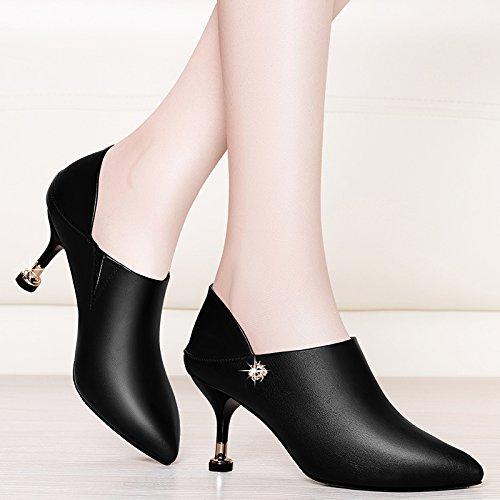 KPHY Spring - Zapatos de Trabajo con Tacón Fino Afilado para Mujer (7 cm, Tacón Alto) negro