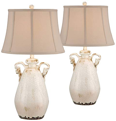 Isabella Cottage Table Lamps Set of 2 Rustic Crackled Ivory Ceramic Jar Handcrafted Beige Bell Shade for Living Room Family - Regency Hill