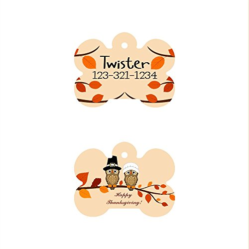 Image of The Famous Thanksgiving Bone Shaped Pet ID Tag, Design 1, Customizable Information Pet Badge for Dogs and Cats (USPS Tracking)