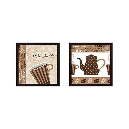 Cafe Au Lait Cocoa Latte by ND Art & Design, 2 Piece Mahogany Framed Art Set, 13 X 13 Inches Each, Kitchen Art