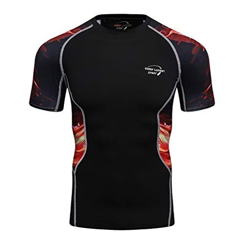 KINGOL Mens Fashion Yoga Sports Fitness Short Sleeve Soft T-Shirt Quick Drying T-Shirt Top Blouse Red