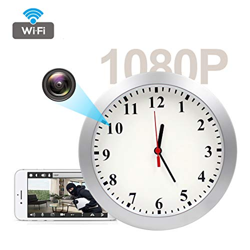 KAMRE 1080P WiFi Hidden Camera Wall Clock Spy Camera Nanny Cam with Motion Detection Alarm, Indoor Security Camera for Home, No Night Vision