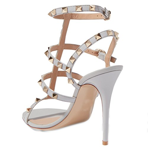 Comfity Hakken Sandalen Voor Vrouwen, Strappy Gladiator Schoenen Slingback Stiletto Hakken Jurk Partij Bruiloft Sandalen Blauw