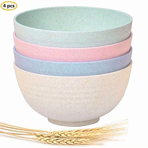 Seyee-bro Wheat Straw Bowls Unbreakable Cereal Salad Soup Noodle Bowls-24 OZ Lightweight Degradable Bowl sets-Eco-Friendly - 4 Pieces (Soup Unbreakable Bowl)