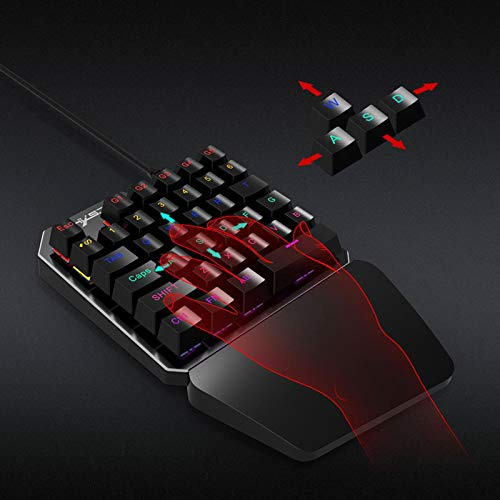 Linkstyle-One-Handed-Keyboard-with-Wired-Optical-Gaming-Mouse-Combo-35-Key-Mechanical-Gaming-KeyboardBlue-Switches-LED-RGB-Color-Backlit-Portable-Mini-Gaming-Keypad-for-LOLPUBGWowDotaOW
