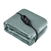 """Ariliya Electric Blanket Heated Throw,ETL Certification with 6 Heating Levels and 3 Hours Auto Off,Machine Washable,50"""" x 60"""" (Icelandic Green1)"""