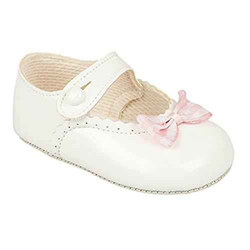 Bebé niñas Baypods–Zapatos de primera cochecito botón Bar con diseño de lazo. blanco/rosa