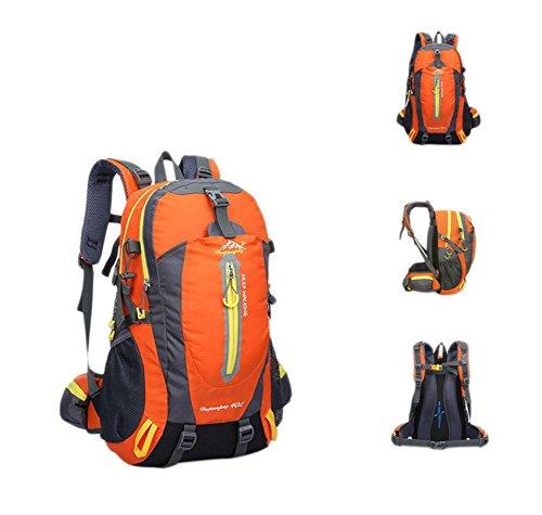 40L impermeable de nylon y las mujeres de los hombres que va de excursión que acampa Mochila Mochila Montañismo Escalada Senderismo ciclo al aire libre se divierte el bolso , black Orange