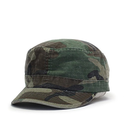 Fatigue Style Hat - Washed Cadet Cotton Twill Adjustable Military Radar Caps (Vintage Fatigue Woodland Camo)