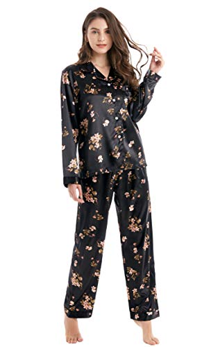 Tony & Candice Women's Classic Satin Pajama Set Sleepwear Loungewear (Black with Flower Pattern, Large) ()