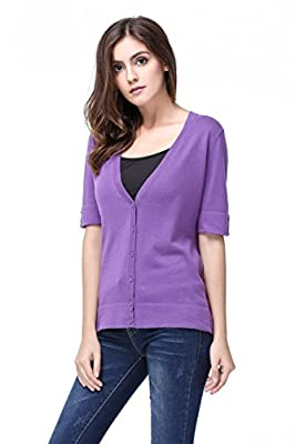 Knitbest Women's Ladies V Neck Short Sleeve Open Front Loose Cardigans
