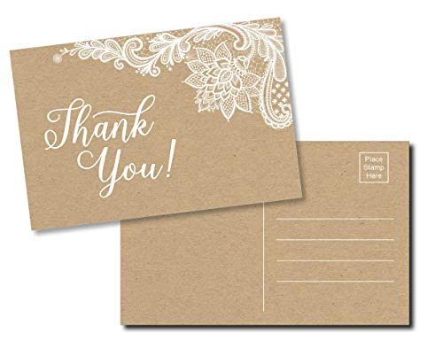 50 Thank You Postcards - Rustic Kraft Lace (50-Cards) Stationery Set for Wedding, Bridesmaid, Bridal Baby Shower, Teachers, Appreciation, Religious, Business, Holidays