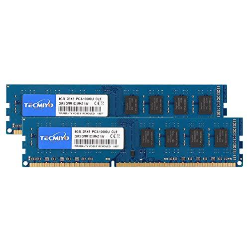 TECMIYO 8GB Kit (2x4GB) DDR3 1333MHz PC3-10600 PC3-10600U Non ECC Unbuffered 1.5V CL9 2RX8 Dual Rank 240 Pin UDIMM Desktop Memory Ram Module