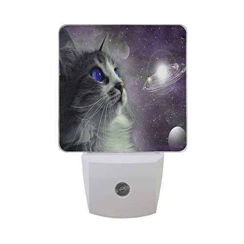 ALAZA Funny Kitten Cat Solar System LED Night Light Dusk to Dawn Sensor Plug in Night Home Decor Desk Lamp for Adult by ALAZA