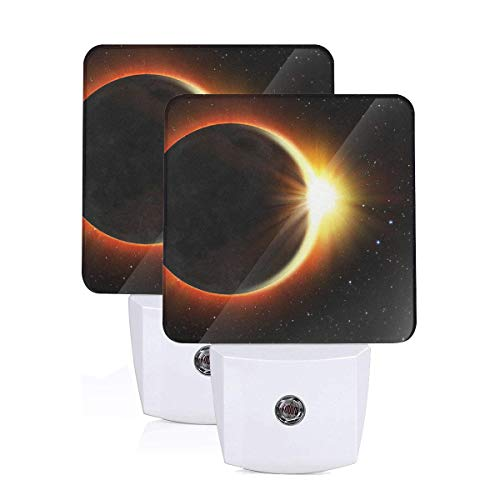 Janeither Set of 2 LED Night Lights, Eclipse Funny Logo Wall Lights, Auto Senor Dusk to Dawn Night Light Plug in Indoor for Adults