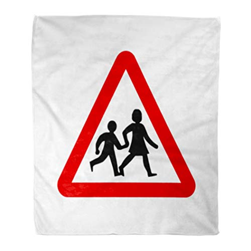 Golee Throw Blanket Road School Sign UK Children Crossing Street Safety Traffic Kids 60x80 Inches Warm Fuzzy Soft Blanket for Bed - Signs Traffic Clipart