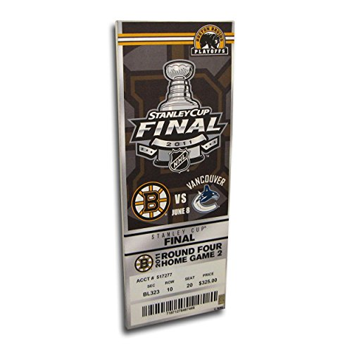 NHL Boston Bruins 2011 Stanley Cup Final Commemorative Canvas Mega Ticket, Small, White