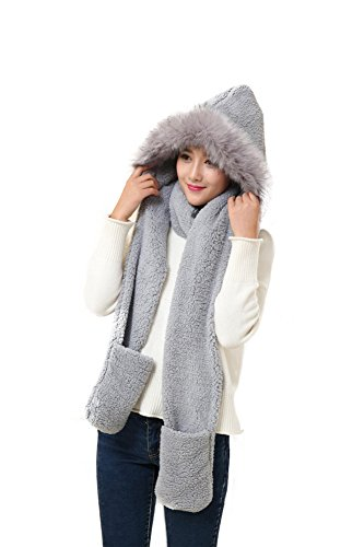 Winter Warm Women Siamese Hoodie Gloves Pocket Earflap Hat Long Scarf Shawl Wraps