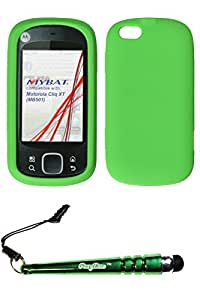 FoxyCase(TM) FREE stylus AND MOTOROLA MB501 (Cliq XT) Solid Skin Cover (Dr Green)