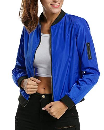 Biker Solide Bleu Up Femmes Zip Jacket Bomber Classique Saphir Coat xwCC7q5O