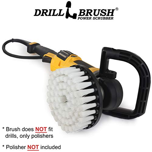 Wood Hub (Rug - Carpet Cleaner - Stain Remover - Scrub Brush - 7in - Soft White - 7/9 inch - Variable Speed Polisher - 5/8 x 11 Threaded Hub - Wood - Furniture - Upholstery - Leather Cleaner - Floor Scrubber)