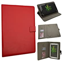 "Xtra-Funky Exclusive Small Luxury Universal Pu Leather Folio Case Cover Fits Most 6""- 8"" Devices Such as iPad Mini, Samsung Tab, Nexus, Nook, Kobo, Asus, Acer, Archos, Lenova and much more - RED"
