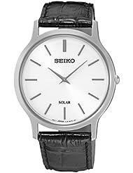 SEIKO SUP873P1,Mens Solar Quartz,Silver tone Stainless steel Case,Leather Strap,30m WR,SUP873