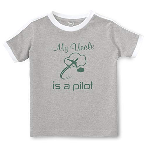 My Uncle is A Pilot Short Sleeve Crewneck Boys-Girls Toddler Cotton Soccer T-Shirt Sports Jersey - Oxford Gray, 3T