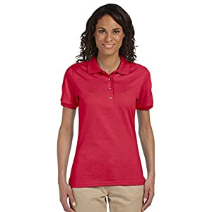 Jerzees womens 5.6 oz. 50/50 Jersey Polo with SpotShield(437W)-BLACK-M