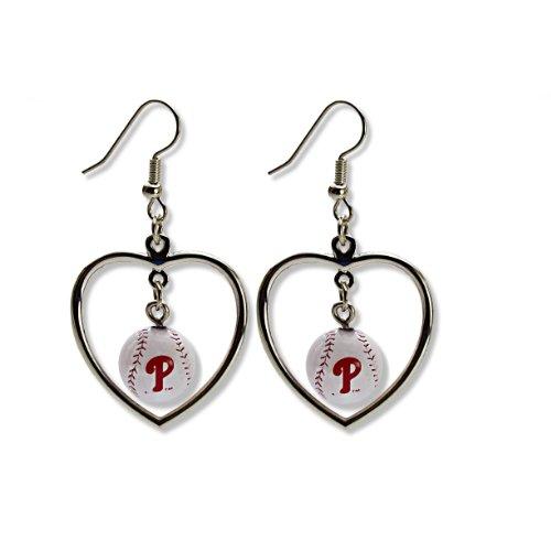 MLB Philadelphia Phillies Mini Baseball Heart Dangler Earrings