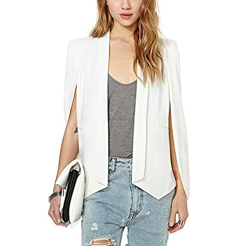 VERO VIVA Women Business Cape Open Front Sim Fit Split Solid Short Blazer Jacket (L,White)