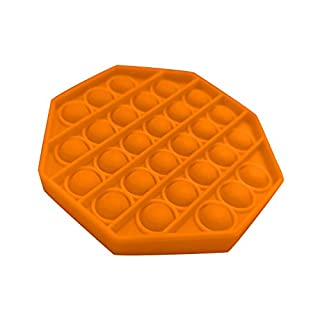 MANDIY Silicone Push Pop Pop Bubble Sensory Fidget Toy Extrusion Push Bubble Fidget Sensory Toy, Autism Special Needs Stress Reliever, Anxiety Relief Toys for Adults and Children #09 Octagon-Orange