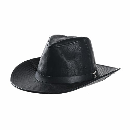 (WITHMOONS Faux Leather Indiana Jones Hat Outback Hat Fedora CD8859 (Black))