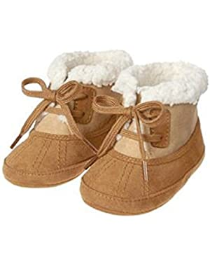 Baby Boys Tan Sherpa Lined Crib Boots
