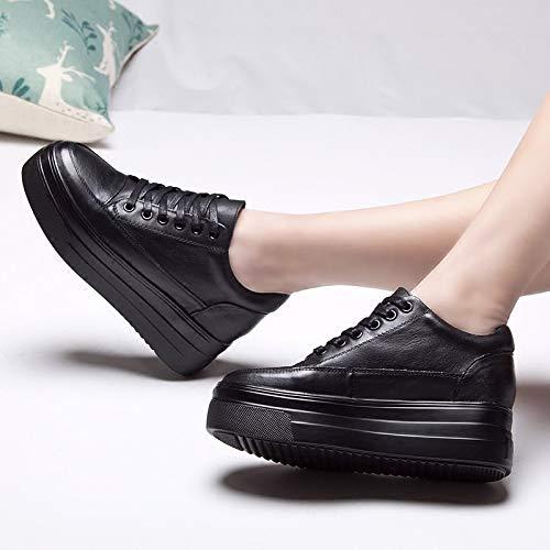 KOKQSX-Cuero Terciopelo Zapatos de Fondo Fondo Fondo Grueso Muffin Alto Dentro Tacon Alto de 6cm único Zapato. Treinta y Cinco Negro 788309