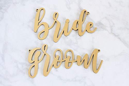 MarthaFox Bride and Groom Chair Signs Wood Calligraphy Bride and Groom Chair Signs Sweetheart Chair Signs Laser Cut Wedding Signs -