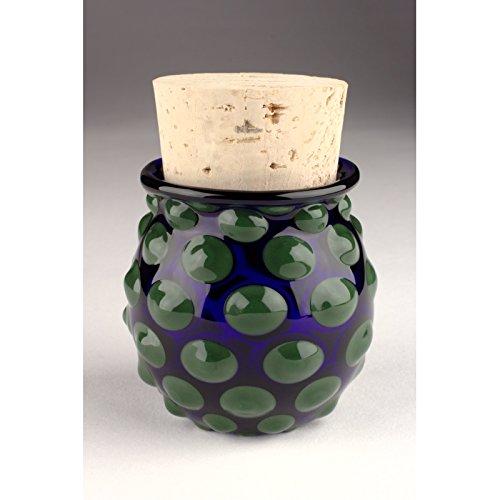 Blown Glass Large Polka Dot Jar - Green/Blue (Blown Hand Glass Jar)