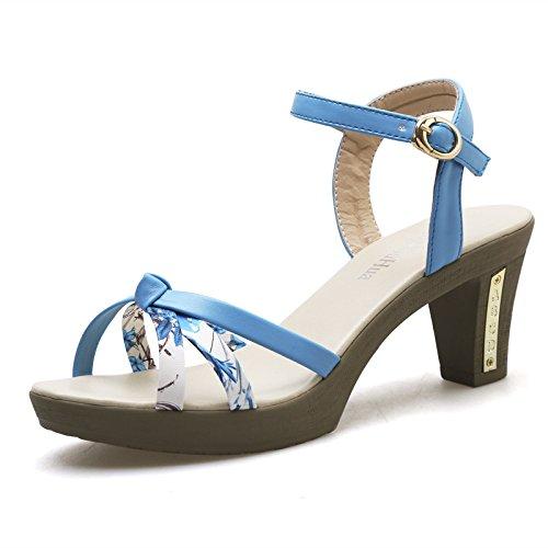 forme Bleu pour grande été hauts à femme cassées hauts femmes doux chaussures TT talons fleurs simple taille talons à Sandales imperméable Générique plate chaussures Rqpg6w
