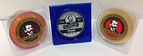 Col. Conk All Natural Shave Soap Unscented + Traditional Amber and Bayrum 2.25 Ounces (Variety 3 Pack) gbs