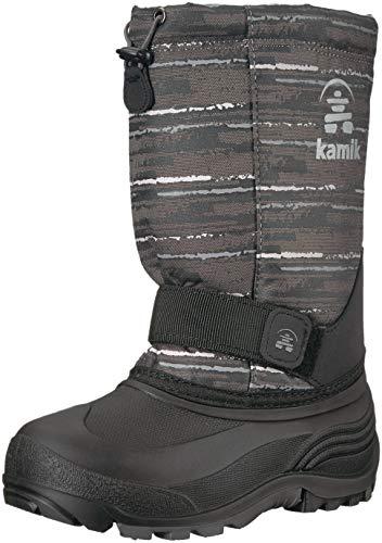 Kamik Boys' ROCKET2 Snow Boot, Black/Charcoal, 1 Medium US Little Kid -