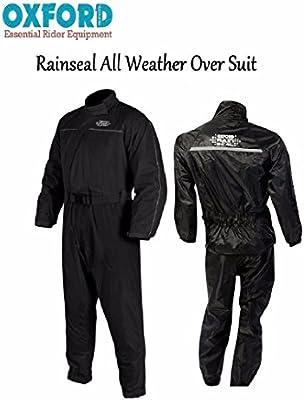 Black Oxford Motorcycle Bike Scooter Waterproof Reflective Rainseal Over Suit
