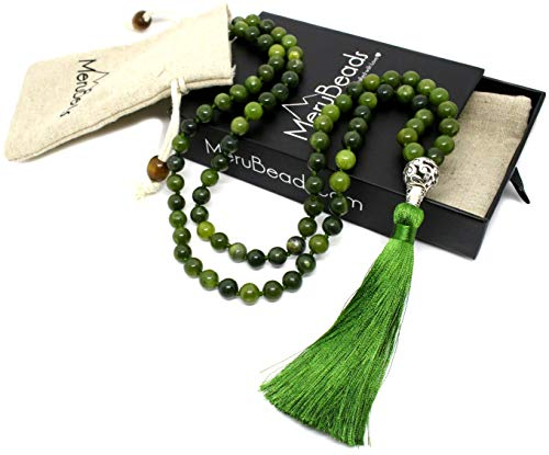 (Premium Nephrite Mala Necklace - Jade Mala Necklace - Handmade Japa Mala - Mala Beads for)