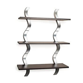Danya B WLA01 Waves 3 Level Shelving System, Walnut/Silver