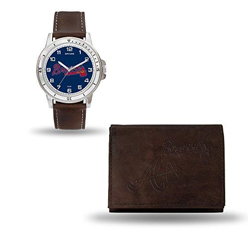 MLB Atlanta Braves Men's Watch and Wallet Set, Brown, 7.5 x 4.25 x (Atlanta Braves Embossed Leather)