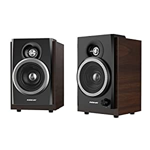 INSMART Computer Speakers,Speaker for Desktop Computer,3.5mm Audio Interface and USB Powered PC Speaker,10W Wooden Stereo Computer Speaker with Volume Control (P300)