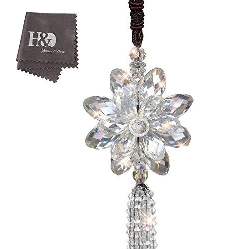 H&D Rear View Mirror Car Charm Ornament Hanging Prism Suncatcher (White1) (Ornament Hanging Tassel)