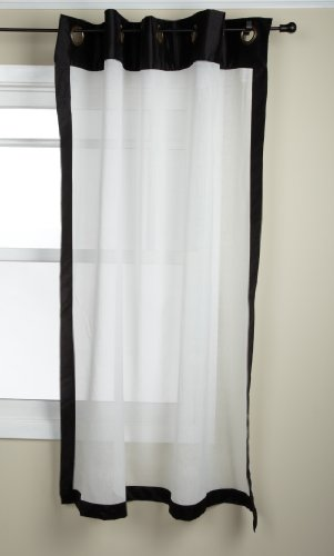 Stylemaster Soho 55 by 63-Inch Sheer Grommet Panel with Faux Silk Border, Onyx