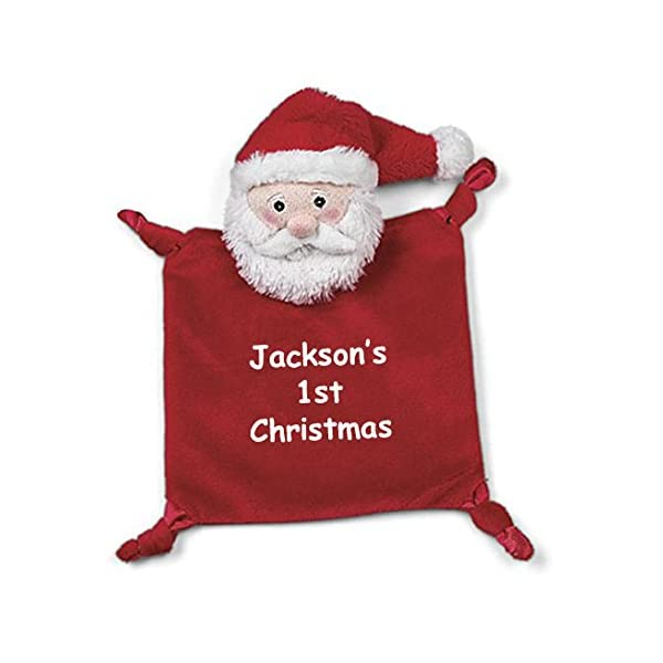 Personalized Bearington Wee Baby's 1st Christmas Santa Claus Snuggler Security Blanky Blanket – 9 Inches
