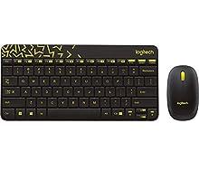 Logitech MK240 Nano - Teclado (Estándar, Inalámbrico, RF Wireless, Black, Amarillo, Ratón Incluido)